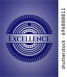 excellence badge with denim... | Shutterstock .eps vector #696888811