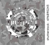 truthful grey camouflaged emblem | Shutterstock .eps vector #696890245