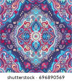 beautiful indian floral paisley ... | Shutterstock .eps vector #696890569