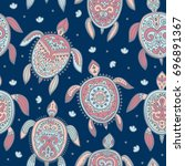 tribal turtle pattern | Shutterstock .eps vector #696891367
