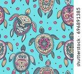 tribal turtle pattern   Shutterstock .eps vector #696891385