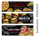 fast food burger  pizza and... | Shutterstock .eps vector #696911419