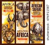 african safari wild animal ... | Shutterstock .eps vector #696911587