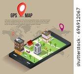 flat 3d isometric mobile gps... | Shutterstock .eps vector #696912067
