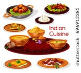 indian cuisine thali dishes... | Shutterstock .eps vector #696912385