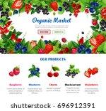 fruit and berry frame for...   Shutterstock .eps vector #696912391