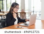 asian young business freelance...   Shutterstock . vector #696912721