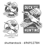 Duck Hunting. Set Of Vector...