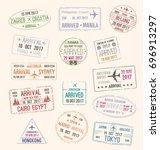 passport stamp and travel visa... | Shutterstock .eps vector #696913297