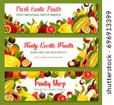 exotic fruit banners set.... | Shutterstock .eps vector #696913399