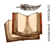 Open Book And Feather Pen...