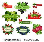 berry and fruit label set.... | Shutterstock .eps vector #696913687