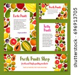 exotic tropical fruit banner... | Shutterstock .eps vector #696913705