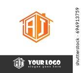 initial letter aj linked logo ... | Shutterstock .eps vector #696913759