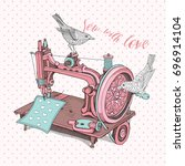 vintage sewing machine with a... | Shutterstock .eps vector #696914104