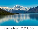 mount cook landscape reflection ... | Shutterstock . vector #696914275