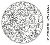 mandala with cats. zentangle....   Shutterstock .eps vector #696915229
