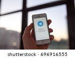 kazan russia 07.08.2016  iphone ... | Shutterstock . vector #696916555