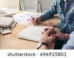 tutor books with friends  young ...   Shutterstock . vector #696925801