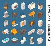 vector smart home icon set.... | Shutterstock .eps vector #696931891