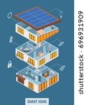 vector flat 3d isometric house...   Shutterstock .eps vector #696931909