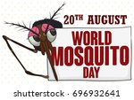 banner with female mosquito... | Shutterstock .eps vector #696932641