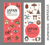 japan travel flyers placrad... | Shutterstock . vector #696933115