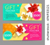 gift voucher card set template... | Shutterstock . vector #696933121
