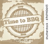 time to bbq grunge background... | Shutterstock .eps vector #696940645