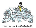 very tired and exhausted... | Shutterstock .eps vector #696941431