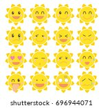 sun emoji set   vector image of ... | Shutterstock .eps vector #696944071