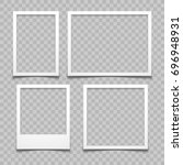 photo frames with realistic... | Shutterstock .eps vector #696948931