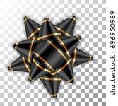 gold bow ribbon decor element... | Shutterstock .eps vector #696950989