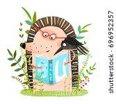 hedgehog and crow friends...   Shutterstock .eps vector #696952357