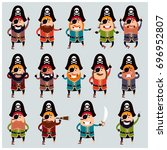 set of flat pirate icons   Shutterstock .eps vector #696952807