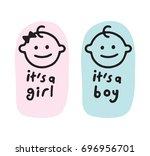 baby shower  it's a girl  it's... | Shutterstock .eps vector #696956701