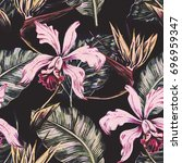 vintage seamless tropical... | Shutterstock . vector #696959347