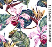 floral seamless tropical... | Shutterstock . vector #696959371