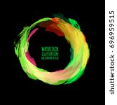 neon paint abstract round.... | Shutterstock .eps vector #696959515