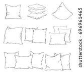 pillow cushion  pillow on white ... | Shutterstock .eps vector #696961465