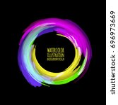 neon paint abstract round.... | Shutterstock .eps vector #696973669