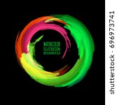 neon paint abstract round.... | Shutterstock .eps vector #696973741