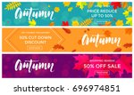 autumn sale text banners for... | Shutterstock .eps vector #696974851