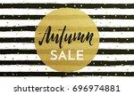 autumn sale text golden banner... | Shutterstock .eps vector #696974881
