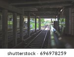 Small photo of Moscow, Subway station - Fili, city, railroad, rails, architecture, aboveground metro, view of the put on August 10, 2017...