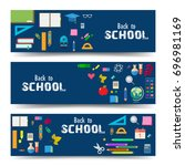 education banners  e learning ... | Shutterstock .eps vector #696981169