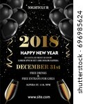 happy new year 2018 greeting... | Shutterstock .eps vector #696985624