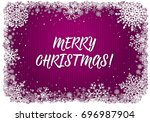 pink christmas card with white...   Shutterstock .eps vector #696987904