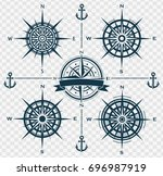 Stock vector set of blue compass roses or wind roses on transparent background vector illustration 696987919