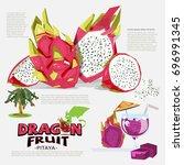 dragon fruit information... | Shutterstock .eps vector #696991345